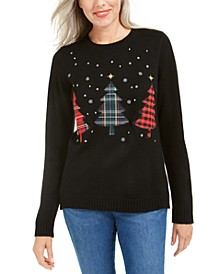 Triple Holiday Tree Appliqué Sweater, Created For Macy's
