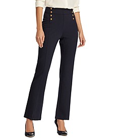 Button-Trim Ponte Sailor Pants