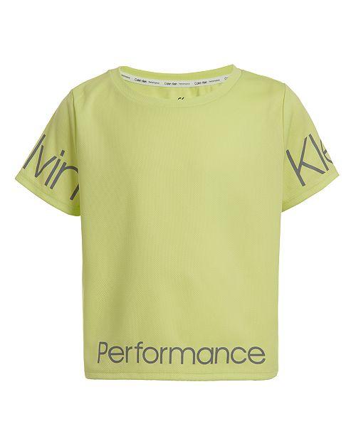 Calvin Klein Big Girls Logo-Print Cropped T-Shirt