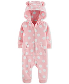Baby Girls Dot-Print Hooded Fleece Coverall
