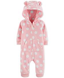 Baby Girls Dot-Print Hooded Fleece Coverall