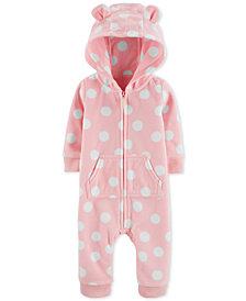 Carter's Baby Girls Dot-Print Hooded Fleece Coverall