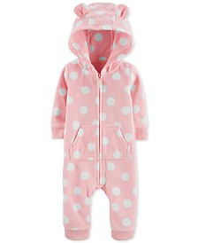 Carter's Baby Girls Dot-Print Hooded Fleece Coverall
