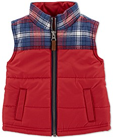 Baby Boys Plaid Zip-Up Vest
