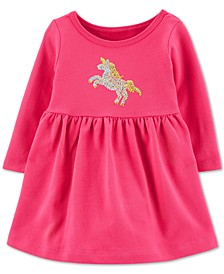 Baby Girls Cotton Sequined Unicorn Dress
