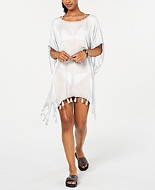 Juniors' Make Your Soul Tasseled Poncho Cover-Up
