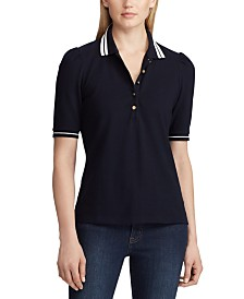 Lauren Ralph Lauren Puff-Sleeve Stretch Piqué Polo Shirt