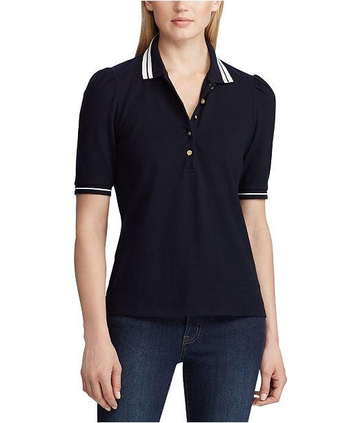 Lauren Ralph Lauren  Puff-Sleeve Stretch Piqué Polo Shirt