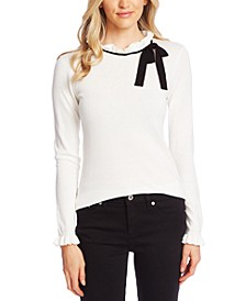 Contrast-Trim Ruffled Sweater