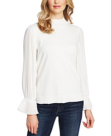 Pleated Bell-Sleeve Cotton Sweater