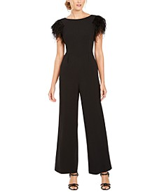 Faux-Feather Wide-Leg Jumpsuit