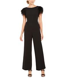 Calvin Klein Faux-Feather Wide-Leg Jumpsuit