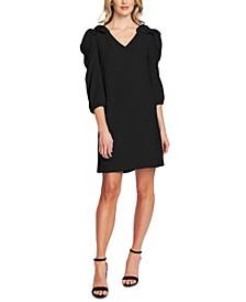 Bow-Shoulder V-Neck Dress