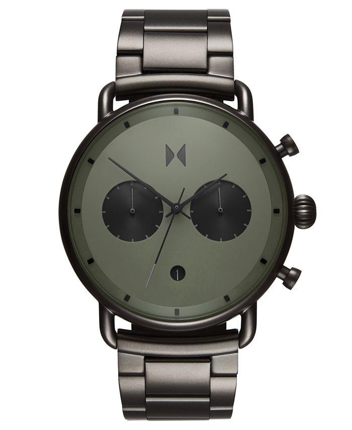 MVMT - Men's Chronograph Blacktop Rallye Green Gunmetal Stainless Steel Bracelet Watch 47mm