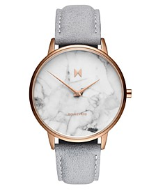Beverly Marble Gray Leather Strap Watch 38mm