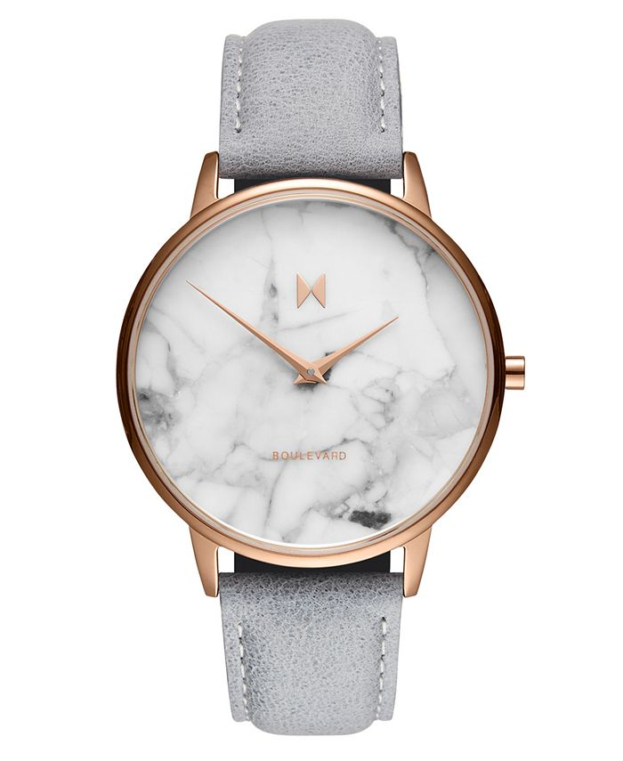 MVMT - Women's Beverly Marble Gray Leather Strap Watch 38mm