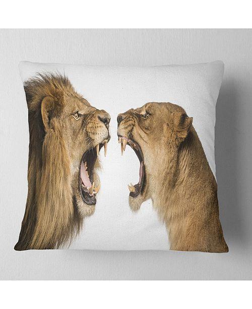 "Design Art Designart Lion And Lioness Roaring Abstract Throw Pillow - 18"" X 18"""