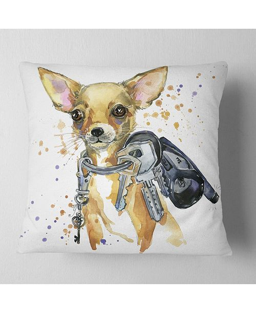 "Design Art Designart Brown Toy Terrier Dog Watercolor Abstract Throw Pillow - 18"" X 18"""