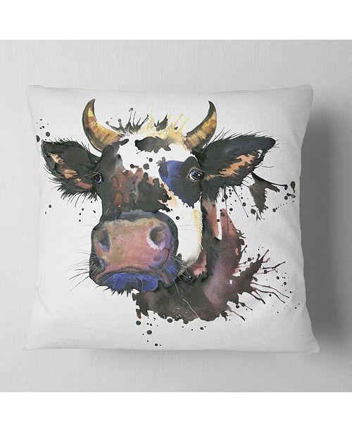 "Design Art Designart Beautiful Cat Watercolor Graphic Animal Throw Pillow - 16"" X 16"""