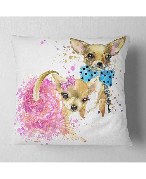 "Design Art Designart Bridge And Groom Dog Illustration Animal Throw Pillow - 18"" X 18"""