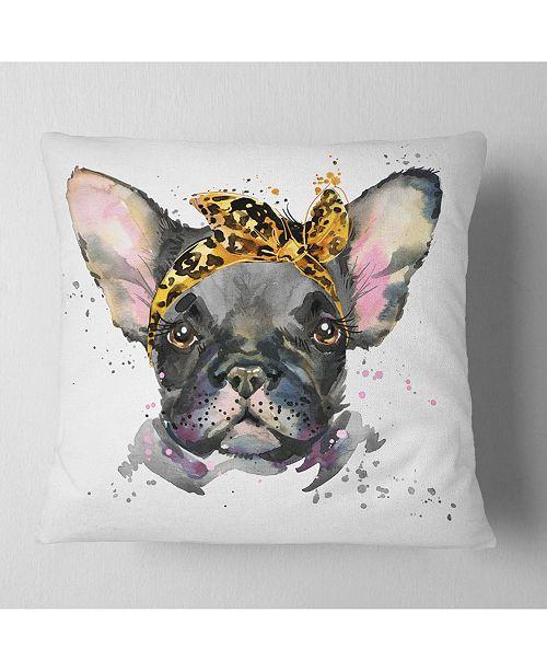 "Design Art Designart Serious Black French Bulldog Animal Throw Pillow - 18"" X 18"""