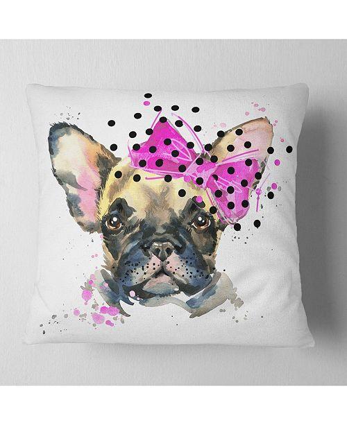 "Design Art Designart Fashionable French Bulldog Animal Throw Pillow - 18"" X 18"""