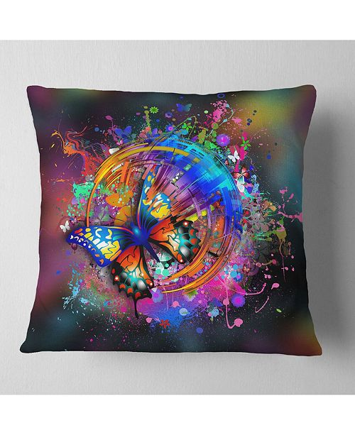 "Design Art Designart Butterfly Over Abstract Background Abstract Throw Pillow - 18"" X 18"""