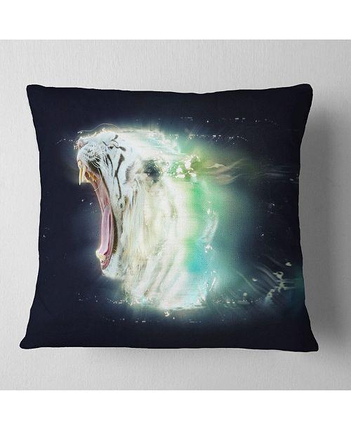 "Design Art Designart White Tiger With Open Jaws Animal Throw Pillow - 18"" X 18"""