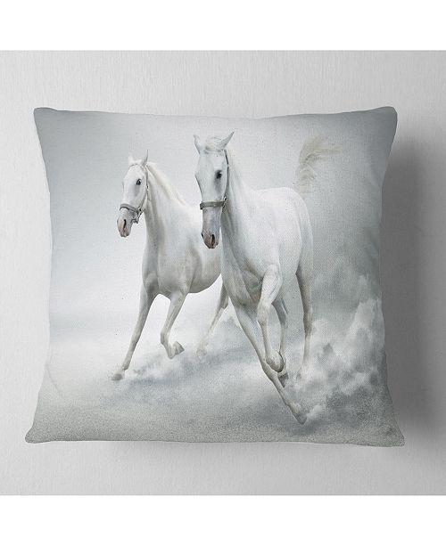 "Design Art Designart Running White Horses Animal Throw Pillow - 16"" X 16"""