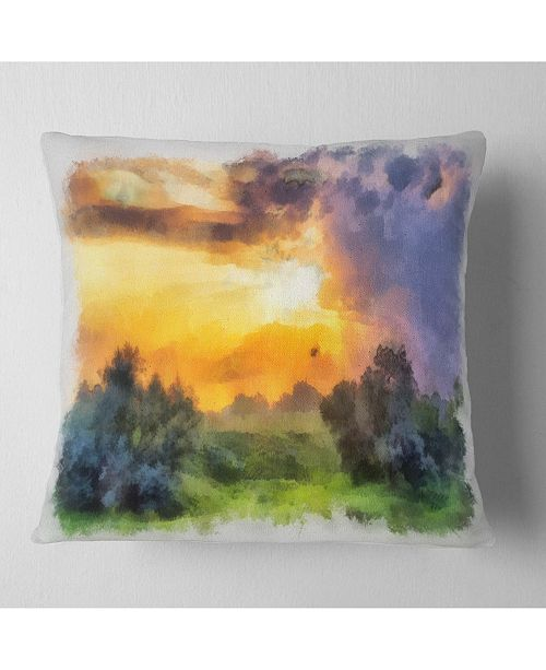 "Design Art Designart Beautiful Landscape Watercolor Landscape Printed Throw Pillow - 18"" X 18"""
