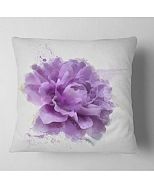 "Designart Purple Rose Watercolor Illustration Floral Throw Pillow - 16"" X 16"""