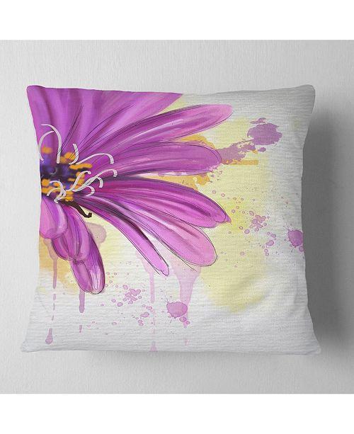 "Design Art Designart Lovely Purple Flower Watercolor Floral Throw Pillow - 16"" X 16"""