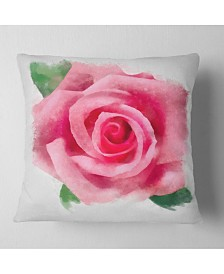 """Designart Big Pink Rose Flower With Leaves Floral Throw Pillow - 16"""" X 16"""""""