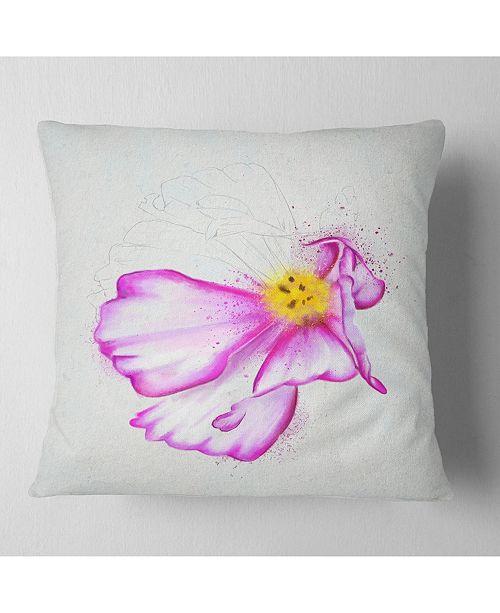 "Design Art Designart Fantastic Pink Flower Watercolor Floral Throw Pillow - 16"" X 16"""