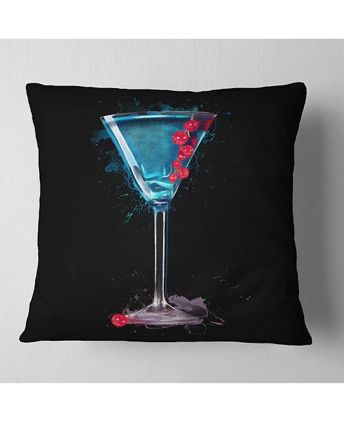 "Design Art Designart Cocktail Margarita With Berries Modern Throw Pillow - 18"" X 18"""