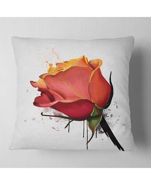 """Design Art Designart Isolated Red Rose Watercolor Sketch Floral Throw Pillow - 18"""" X 18"""""""