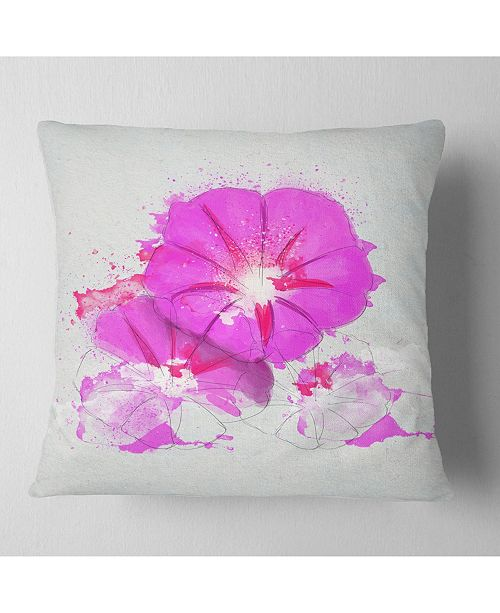 """Design Art Designart Pink Flowers Sketch With Color Splashes Floral Throw Pillow - 18"""" X 18"""""""