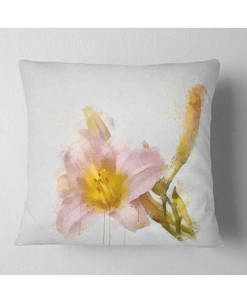"Design Art Designart Watercolor Lily With Color Splashes Floral Throw Pillow - 16"" X 16"""