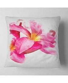 """Designart Beautiful Flowers With Big Pink Petals Floral Throw Pillow - 26"""" X 26"""""""