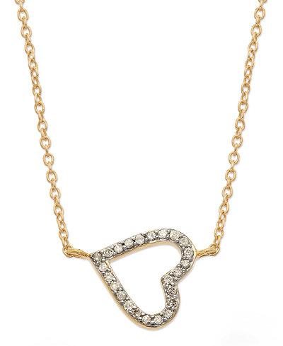 Diamond Sideways Heart Pendant Necklace in (1/6 ct. t.w.)