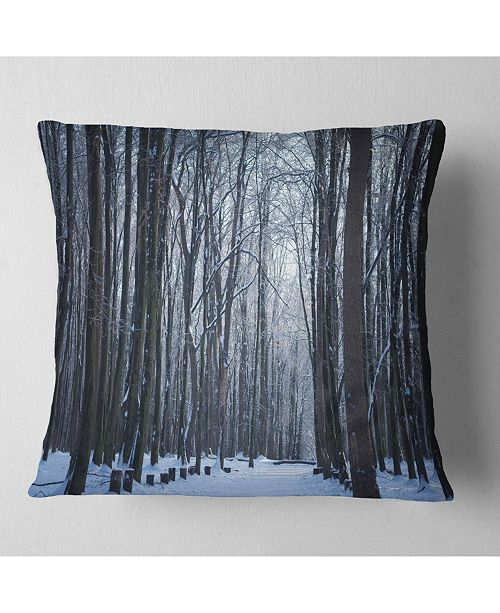 "Design Art Designart Thick Woods In Winter Forest Modern Forest Throw Pillow - 16"" X 16"""