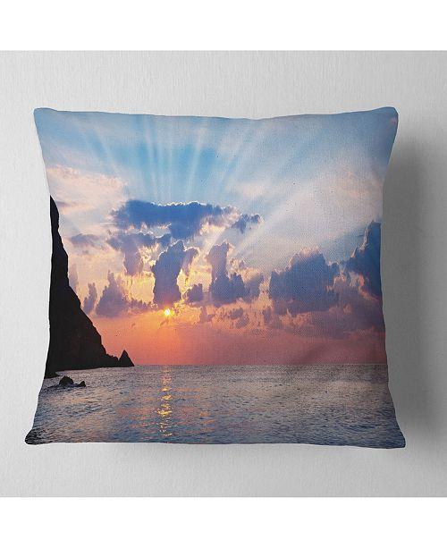 "Design Art Designart Beautiful Raising Sun And Mountains Landscape Printed Throw Pillow - 18"" X 18"""
