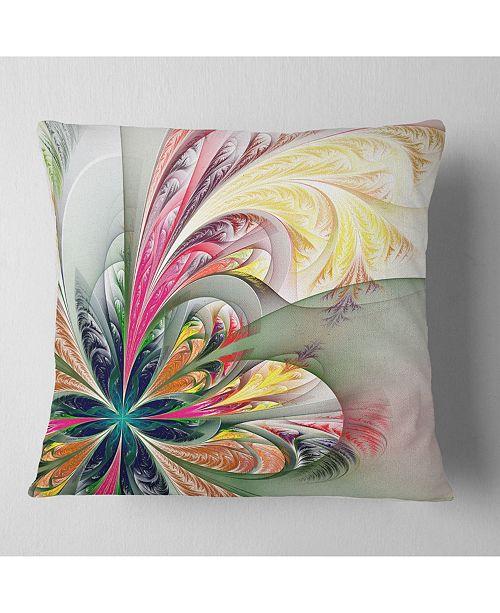 "Design Art Designart Multicolor Fractal Tracery Floral Throw Pillow - 18"" X 18"""