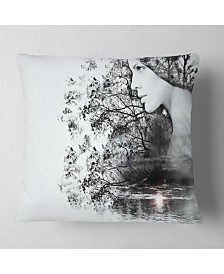 """Designart Woman And Beauty Of Nature Landscape Printed Throw Pillow - 16"""" X 16"""""""