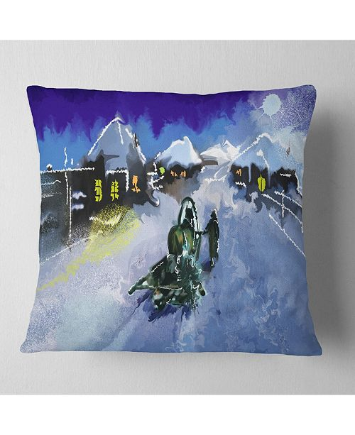 "Design Art Designart Winter Road And Night Sky Landscape Printed Throw Pillow - 18"" X 18"""