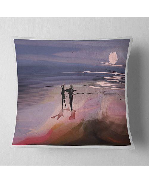 "Design Art Designart Couple Walking Near Ocean At Night Seashore Photo Throw Pillow - 16"" X 16"""