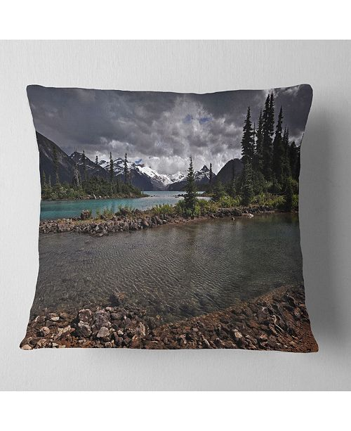 "Design Art Designart Dark Sky Over Crystal Clear Lake Landscape Printed Throw Pillow - 18"" X 18"""