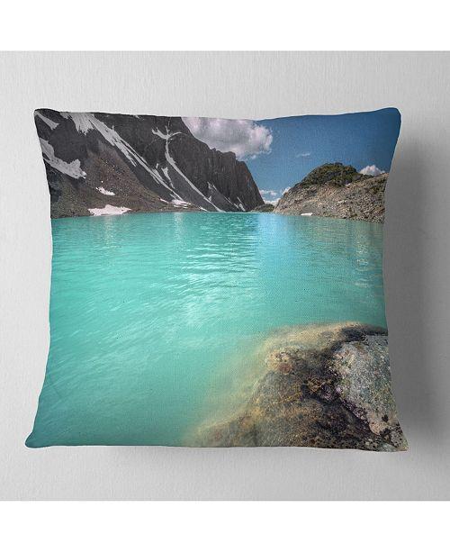 "Design Art Designart Crystal Clear Mountain Lake Landscape Printed Throw Pillow - 18"" X 18"""