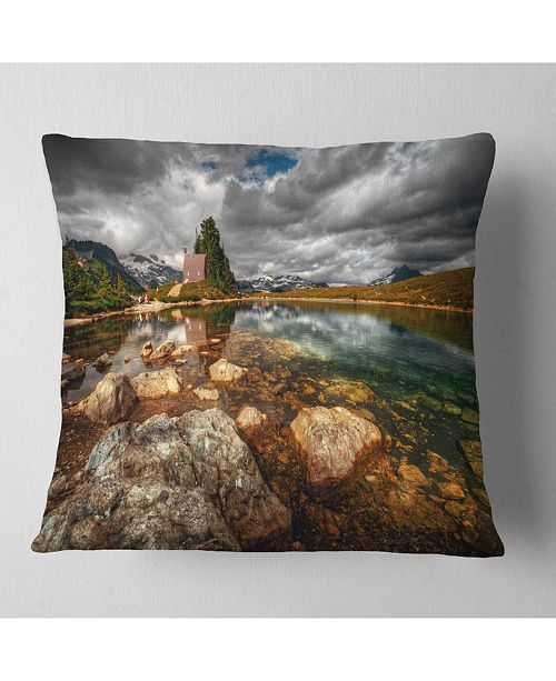 "Design Art Designart Beautiful Clear Mountain Lake Landscape Printed Throw Pillow - 16"" X 16"""