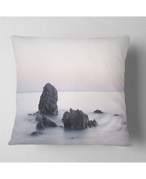 "Design Art Designart Rocks In The Sea Black And White Seashore Throw Pillow - 16"" X 16"""